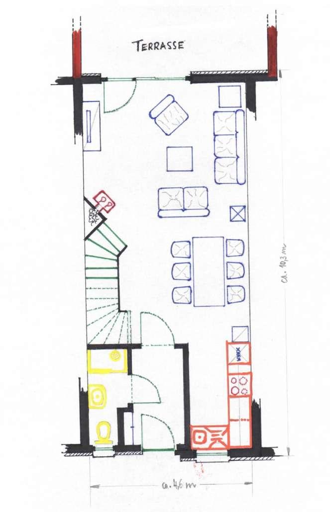 Grundriss Erdgeschoss- Ferienhaus Malve 3